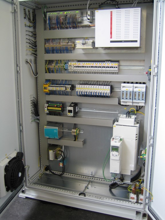 Control cabinet with PC for visualization and PLC and frequency drive